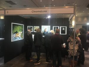 People viewing Print2metal prints at the Chromaluxe stand